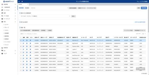 三井住友ファイナンス&リースグループが提供する資産管理SaaS「assetforce(アセットフォース)」の画面例