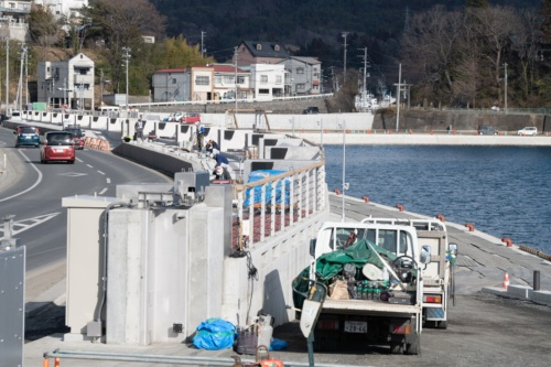 海沿いに設置されたフラップゲート。2021年2月11日撮影(写真:村上 昭浩)