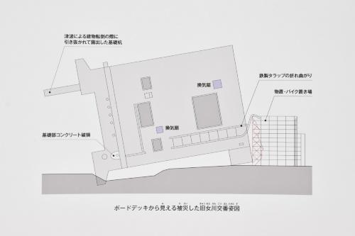 旧女川交番の展示の一部。建物の被災状況を図面などで解説してある。2021年2月撮影(写真:日経アーキテクチュア)