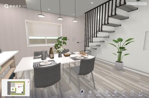桧家住宅の「VRセレクテリア」。人気のモデルプランを仮想空間内に再現し、顧客が住宅内を歩き回るように内覧できる。建物は3DCGで再現しているため、壁や床の色を変更したり、家具の配置を変えたりといったシミュレーションが可能だ(出所:ヒノキヤグループ)