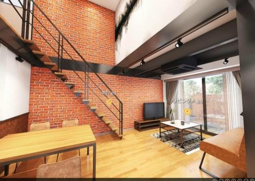 仮想空間の住宅展示場「HOUPARK」に出展した住宅会社「BLISS」(東京・文京)のモデルハウス「MANHATTAN HILLS」。3DCGのモデルハウス内を歩き回るように内覧できる。VRゴーグルを用いれば、実寸大の内覧体験が可能だ(出所:VR住宅公園)
