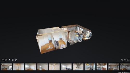 不動産情報サイトのノムコムは「3Dウォークスルー動画機能」を導入。3Dモデルで作成しているため、部屋を斜め上から見下ろすように確認することもできる(出所:野村不動産ソリューションズ)