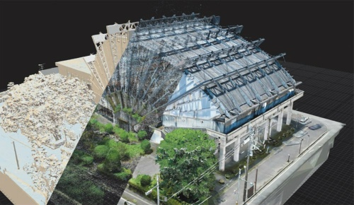 「旧都城市民会館の3Dデジタルアーカイブプロジェクト」のデータを利用したフォトグラメトリー作例(出所:藤原 龍)