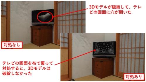 テレビの画面を布で覆うといった対処の有無で、それぞれ3Dモデルの作成結果がどのように異なるかを比較。対処しないと3Dモデルが破綻して、画面に穴が空いたようになってしまった(出所:日経クロステック)