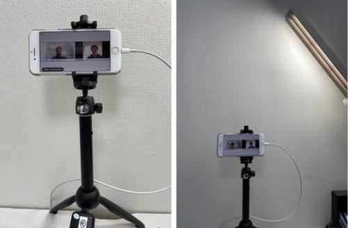 損害保険ジャパンの中野課長はスマートフォンのカメラが目の高さに来るよう三脚に設置して1on1に臨んでいる。間接照明になるよう明かりにも気を配る