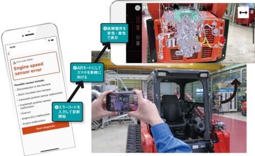クボタが米国ディーラー向けに提供しているARアプリ「Kubota Diagnostics」