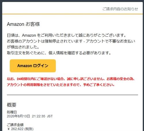 Amazon.comをかたるフィッシングメール