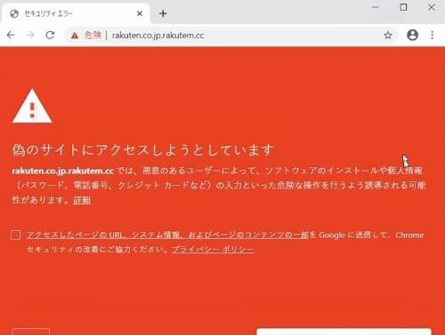 フィッシングサイトのURLを入力したときのGoogle Chrome。警告を表示し、アクセスを止める
