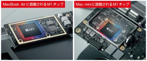 図2 3つのラインアップに搭載されているM1チップは基本的に同一。ただし「MacBook Air」の下位モデルのみ、GPUコア数が少ないチップを採用する