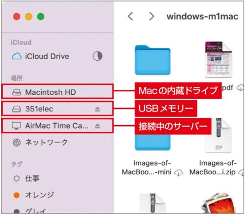 図5 内蔵ドライブやサーバーにはFinderウインド ウのサイドバーにある「場所」からもアクセスできる