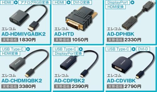 図2 変換アダプターは、HDMIをアナログRGBに変換するアダプターやHDMIをDVI-Dに変換するものなど各種発売されている。用途に合ったものを選ぼう