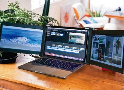 ノート型パソコンの左右に2つの画面を拡張できるJAPANNEXTの「Tri-Screen」シリーズ。映像入力はmini HDMIとUSB Type-Cに対応する