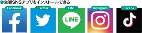 図7 Facebook(フェイスブック)、Twitter(ツイッター)、LINE(ライン)、Instagram(インスタグラム)、TikTok(ティックトック)など主要SNSのアプリもプレイストアから入手可能だ