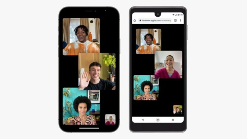 iOS 15のFaceTimeが、WebブラウザーベースではあるがWindowsやAndroidといったほかのプラットフォームに対応する。基調講演の配信画面をキャプチャーした