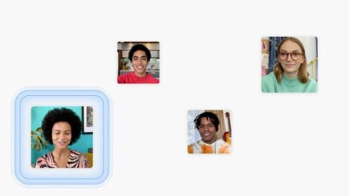 FaceTimeは空間オーディオに対応し、相手と同じ空間で会話をしているような音響効果が提供される。基調講演の配信画面をキャプチャーした