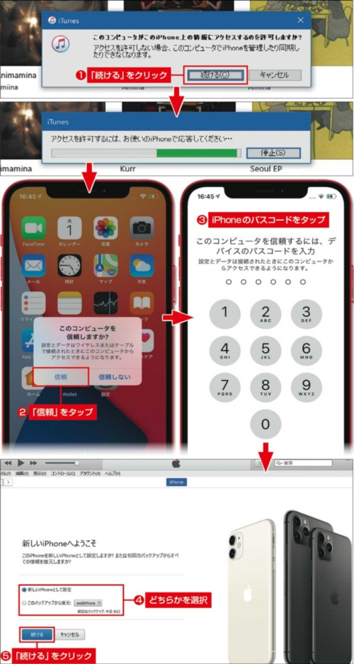図6 パソコンにiPhoneを接続してiTunesを起動すると、アクセス許可を求められる(上)。iPhoneに表示される画面で「信頼」をタップして進もう