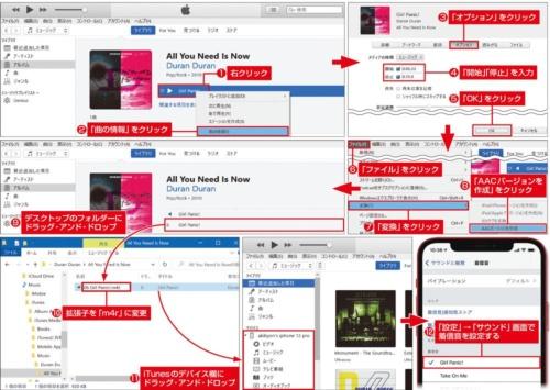 図7 パソコンのiTunesで「曲の情報」を開き、着信メロディーにする部分を「開始」「停止」で指定。その曲を上の手順で変換すると、指定した部分だけが書き出せる。このファイルを取り出し、拡張子を「m4r」に変更してiPhoneに登録しよう