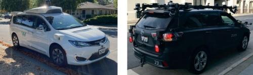 米国で開発が進む自動運転車両。左は、米カリフォルニア州パロアルトで停車中の、グーグル系の米ウェイモ(Waymo)の自動運転車両。右は、同州サンフランシスコで停車中の、アマゾン傘下の米ズークス(Zoox)の自動運転車両。両車共に2020年撮影。