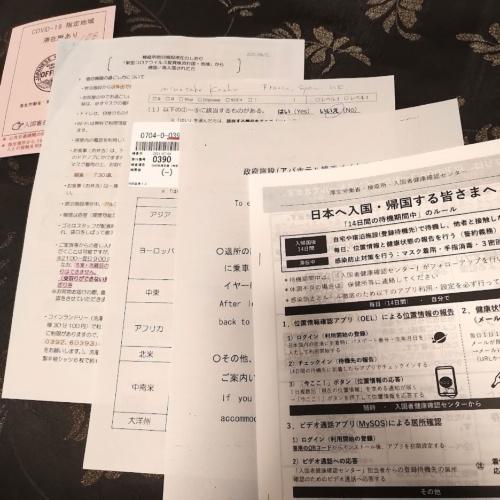 空港で死の行進中に渡された書類。ヘロヘロの体で、紙を渡されるたびに延々と説明がある。収容先のホテルで受け取った最後の紙以外はよく覚えていない