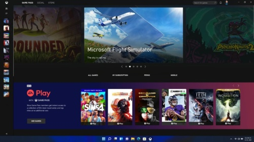 Windows 11におけるゲーム配信サービス「Xbox Game Pass」の画面