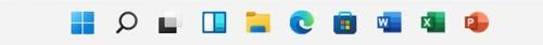 左から[スタート]、[検索]、[タスクビュー]、[ウィジット]ボタンが並ぶ。これらの配置順は変更できない