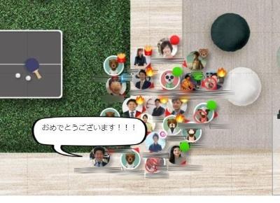 エン・ジャパンが導入している仮想オフィスサービス「oVice」の画面例。初受注を果たした社員のアバターの周りに、先輩社員のアバターが集まってお祝いをしている