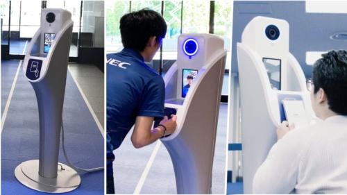 NECが東京五輪に合わせて開発した顔認証ゲート。車椅子の人も利用しやすいデザインや機能を盛り込んだ