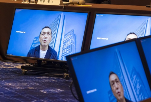 SOMPOホールディングスの楢﨑浩一デジタル事業オーナーグループCDO執行役専務。会議にはオンラインで参加した