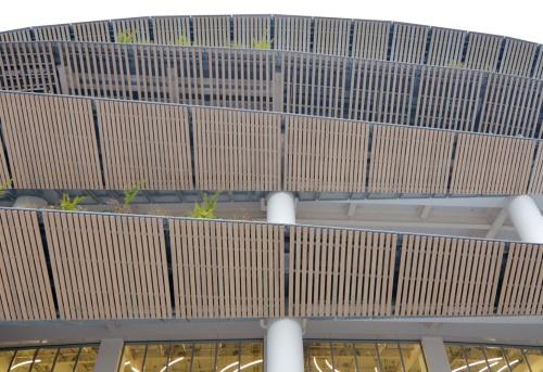 国立競技場の庇下部のルーバーを見上げる(19年12月撮影)(写真:日経クロステック)