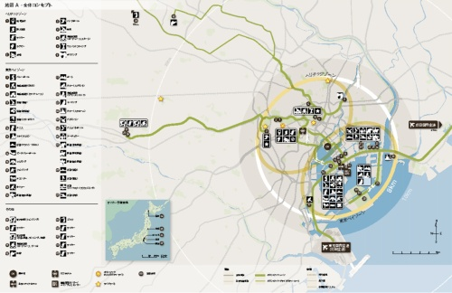 東京2020オリンピック・パラリンピック招致委員会による「2020年夏季大会立候補ファイル」冒頭の全体コンセプトを表現した地図。続けて第1巻の導入部で、ビジョン、レガシー、コミュニケーションを順に説明している(資料:東京2020オリンピック・パラリンピック招致委員会)