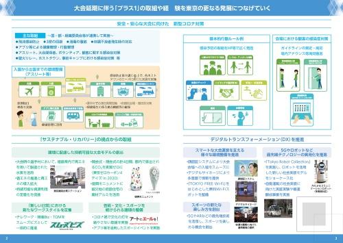 21年7月21日公表の「大会後のレガシーを見据えた東京都の取組―2020のその先へ―」より。アクション&レガシープランとは別に刊行されてきたものだ。大会延期を踏まえて「新型コロナ対策」に関連する取り組みを冒頭に記している(資料:東京都)