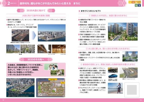 21年7月21日公表の「大会後のレガシーを見据えた東京都の取組―2020のその先へ―」より。臨海部のスポーツ施設とは別に、後に分譲・賃貸マンションとなる選手村を取り上げている(資料:東京都)