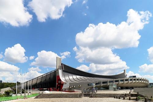 国立代々木競技場第一体育館の全景(写真:日経クロステック)
