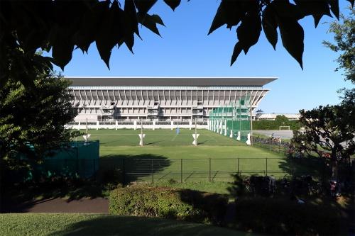 東京アクアティクスセンターの西側外観を、辰巳の森海浜公園側から見る(写真:日経クロステック)