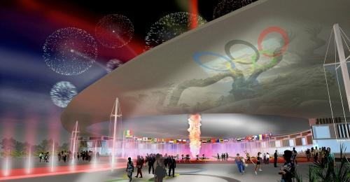北京オリンピック選手村案(マスタープラン、03年)(資料:丹下都市建築設計)