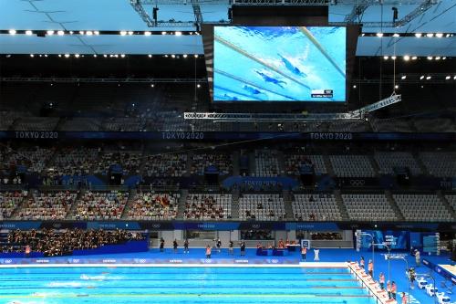 東京アクアティクスセンターのメインプール。五輪競泳時(21年7月24日撮影)(写真:日経クロステック)