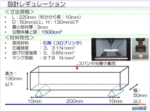 設計コンテストの与条件。新入社員とチューターから成る4つの班がこの条件下で橋梁を設計し、その耐荷力を競った。3Dプリンターによる模型の製作には1班当たり約10万円を投じた(資料:清水建設)