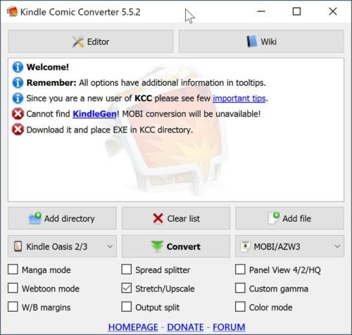 Kindle Comic Converterそれだけではmobiへの変換ができない。起動すると「KindleGen」が必要という警告メッセージが表示される