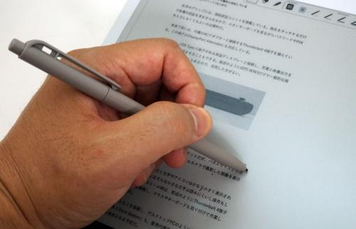 画面に手のひらが触れていてもペン先のみを認識する