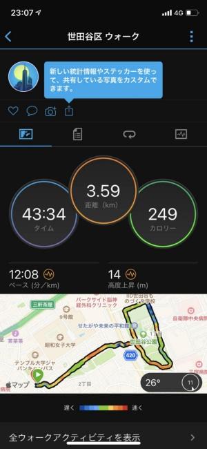 ワークアウトの結果は、自動でスマホアプリに同期される。これは「Gamin Connect」というアプリの画面。GPSで計測されたルートや速さも記録される