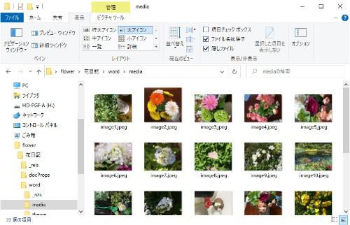 解凍したファイル内の「word」の「media」フォルダーを開くと、jpeg形式で画像が一式まとめられている