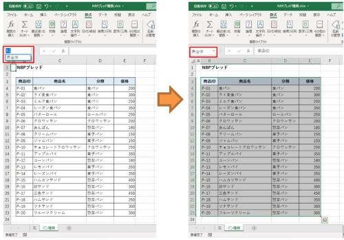 セルやセル範囲を選択して、「名前」ボックスに名前を入力して「Enter」キーを押す。次からはその名前を選択するだけでセル範囲を選択できる