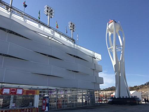 18年平昌冬季五輪。仮設メインスタジアムは開閉会式のみ使用。大会後は撤去された(写真:山嵜 一也)