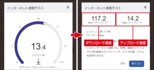 図15 Webブラウザー上でダウンロードとアップロードのテストが実行され(左)、計測が終了すると結果が表示される(右)