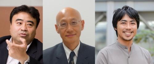 デジタル庁のCxO就任者の例。左からCAに就いた東京大学大学院の江崎浩教授、CISOに就いた警察庁出身の坂明氏、CPOに就いたラクスルの水島壮太執行役員