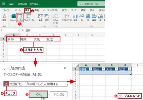 データを保存するExcelファイルに「テーブル」を作成