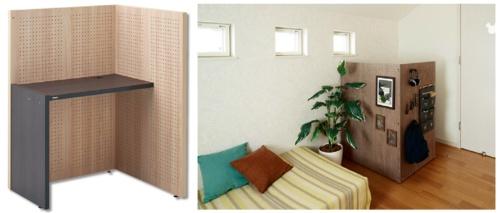 図3 パナソニックの「KOMORU(コモル)」は、テーブル付きのパーティション。仕切りにより半個室空間が作れる。実勢価格は約7万円