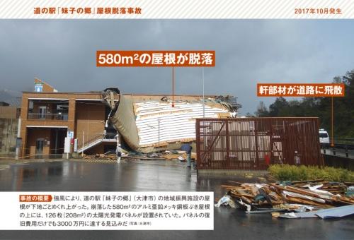 事故の概要 強風により、道の駅「妹子の郷」(大津市)の地域振興施設の屋根が下地ごとめくれ上がった。崩落した580m2のアルミ亜鉛メッキ鋼板ぶき屋根の上には、126枚(208m2)の太陽光発電パネルが設置されていた。パネルの復旧費用だけでも3000万円に達する見込みだ(写真:大津市)