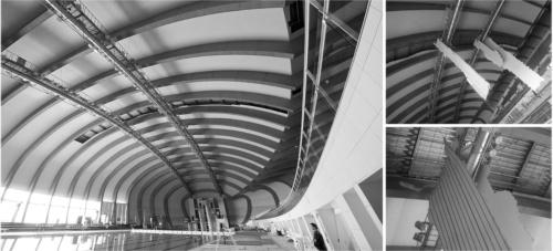〔写真1〕300m2の天井板が一度に落ちた