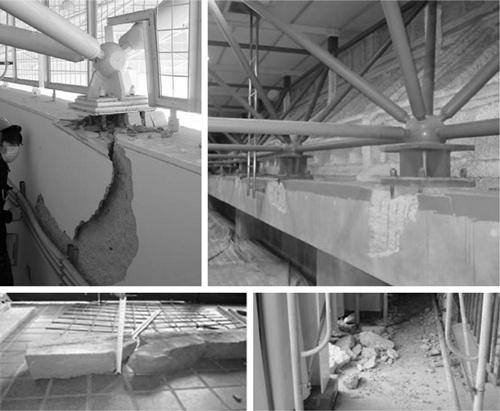 〔写真1〕鉄骨屋根のアンカー定着部の被害状況